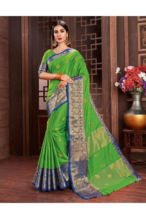 Ashra Lush Green Cotton Saree