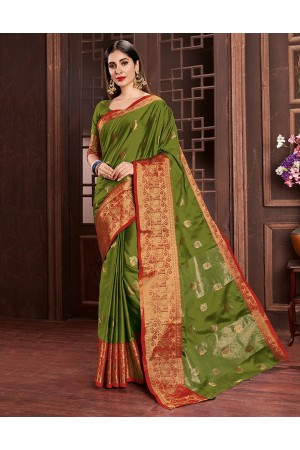 Ashra Olive Green Cotton Saree