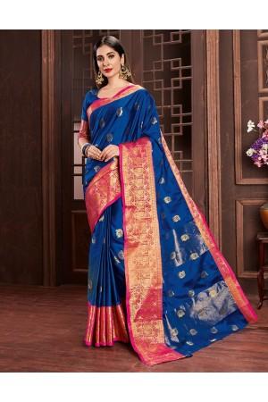 Ashra Sapphire Blue Cotton Saree