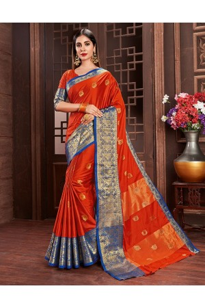 Ashra Tangy Orange Cotton Saree