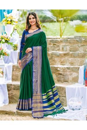 Ashra Tender Green Wedding Wear Cotton Saree