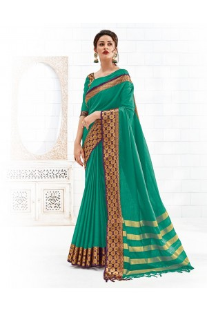Bavitha Aqua Green Festive Wear Cotton Saree