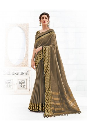 Bavitha Duskin Beige Festive Wear Cotton Saree