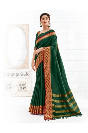 Bavitha Emerald Green Festive Wear Cotton Saree