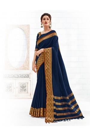 Bavitha Symphony Blue Festive Wear Cotton Saree