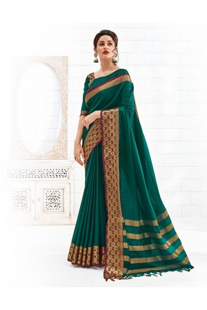 Bavitha Tender Green Festive Wear Cotton Saree
