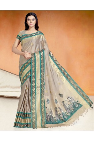 Chaitra Kala Duskin Beige Cotton Saree