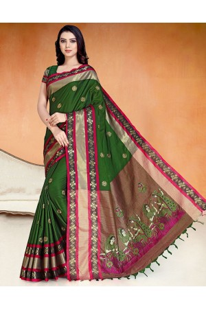 Chaitra Kala Olive Green Cotton Saree