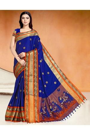 Chaitra Kala Sapphire Blue Cotton Saree