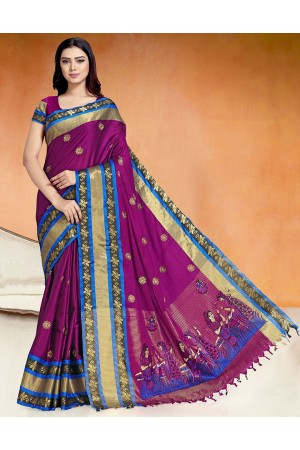 Chaitra Kala Wine Magenta Cotton Saree