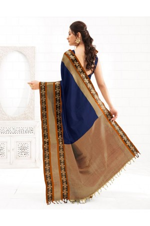 Chaitra Symphony Blue Festive Wear Cotton Saree