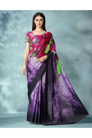 Inara Digital Printed Iris Purple Saree