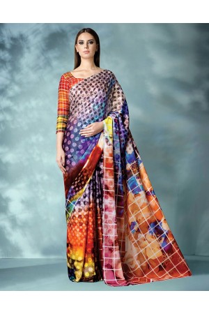Inara Digital Printed Orange Saree