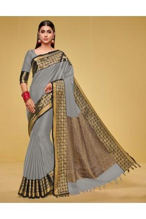 Kanisha Ash Grey Cotton Saree