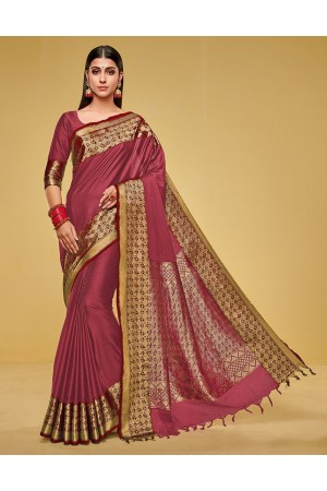Kanisha Crimson Red Cotton Saree