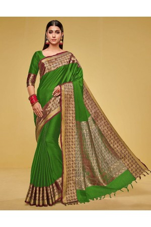 Kanisha Lush Green Cotton Saree