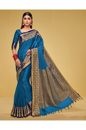 Kanisha Peacock Blue Cotton Saree
