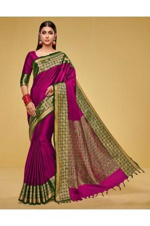 Kanisha Rosy Pink Cotton Saree