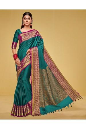 Kanisha Tender Green Cotton Saree