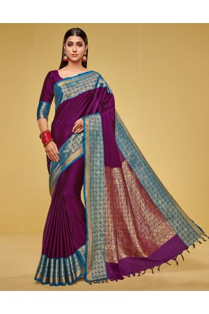 Kanisha Wine Magenta Cotton Saree