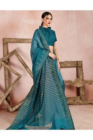 Kaya Aqua Blue Designer Wear Cotton Saree