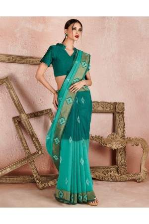 Kaya Azure Green Designer Wear Cotton Saree