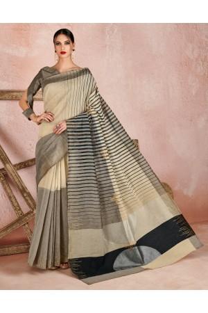 Kaya Duskin Beige Designer Wear Cotton Saree