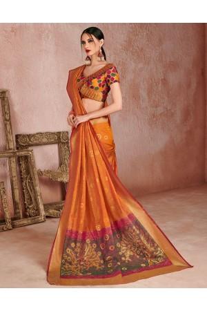 Kaya Peppy Orange Designer Wear Cotton Saree