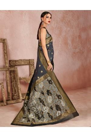 Kaya Smoky Grey Designer Wear Cotton Saree