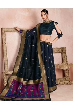 Kaya Symphony Blue Designer Wear Cotton Saree