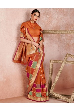 Kaya Tangy Orange Designer Wear Cotton Saree