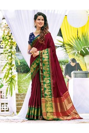 Lakshana Currant Red Wedding Wear Cotton Saree