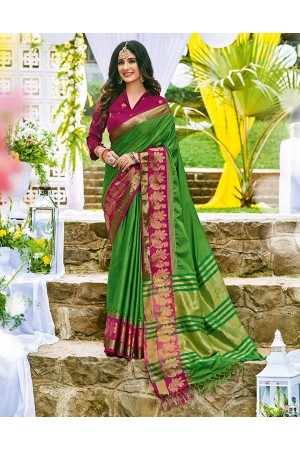 Lakshana Lush Green Wedding Wear Cotton Saree