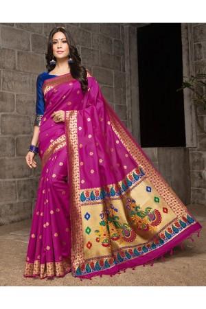Mayil Weaved Floral Motif Rani Pink Saree