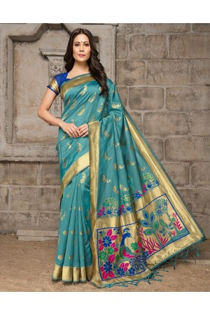 Mayil Weaved Peacock Motif Blue Saree