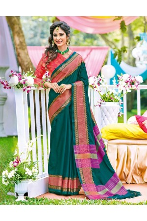 Naazni Teal Green Wedding Wear Saree