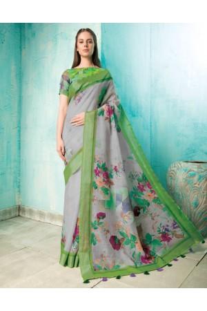 Neisha Ash Grey Linen Printed Saree