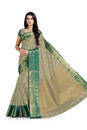 Paneri Duskin Beige Wedding  Wear Cotton Saree    Saree