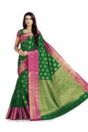 Paneri Lush Green Wedding  Wear Cotton Saree    Saree