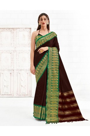 Reemika Chocolate Brown Festive Wear Cotton Saree