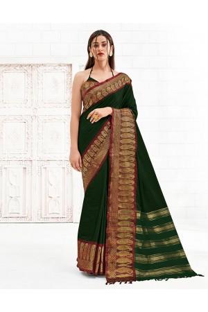 Reemika Emerald Green Festive Wear Cotton Saree