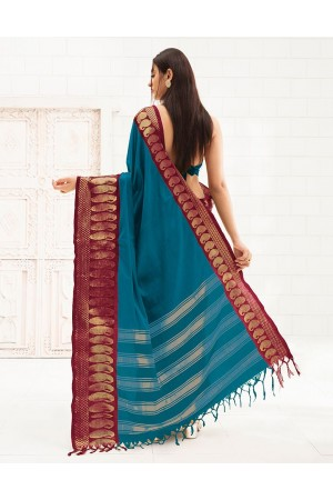 Reemika Peacock Blue Festive Wear Cotton Saree
