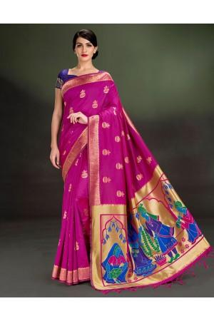 Regal Kalash Motif Rani Pink Saree