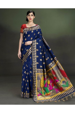 Regal Leaf Motif Deep Blue Saree