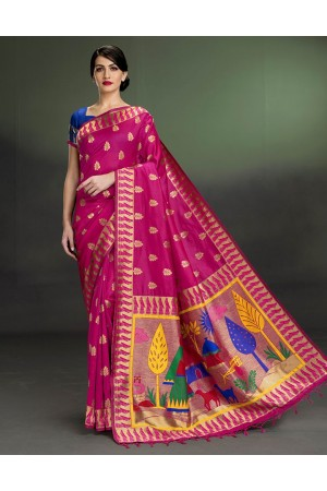 Regal Leaf Motif Rani Pink Saree