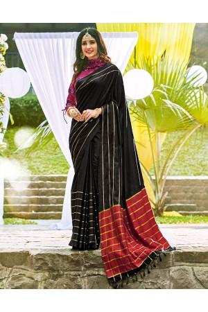 Sampada Onyx Black Wedding Wear Cotton Saree