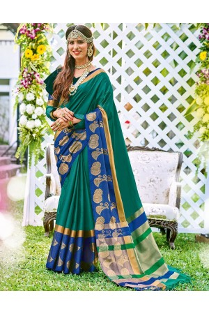 Sanaz Azure Green Wedding Wear Cotton Saree