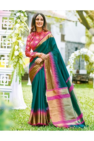 Sarisha Tender Green Wedding Wear Cotton Saree