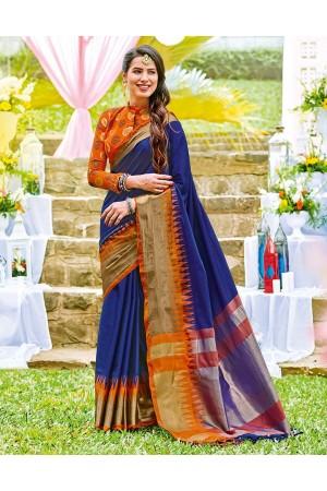 Sarissa Sapphire Blue Wedding Wear Cotton Saree