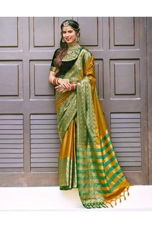 Siyona Mustard Yellow Wedding Wear Cotton Saree